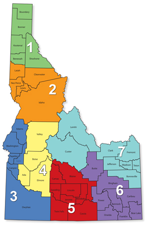 Idaho Public Health Districts Map